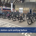 Cycle parking area before installation of two tier cycle racks at York station