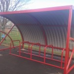 Hamble cycle shelter with steel roof section