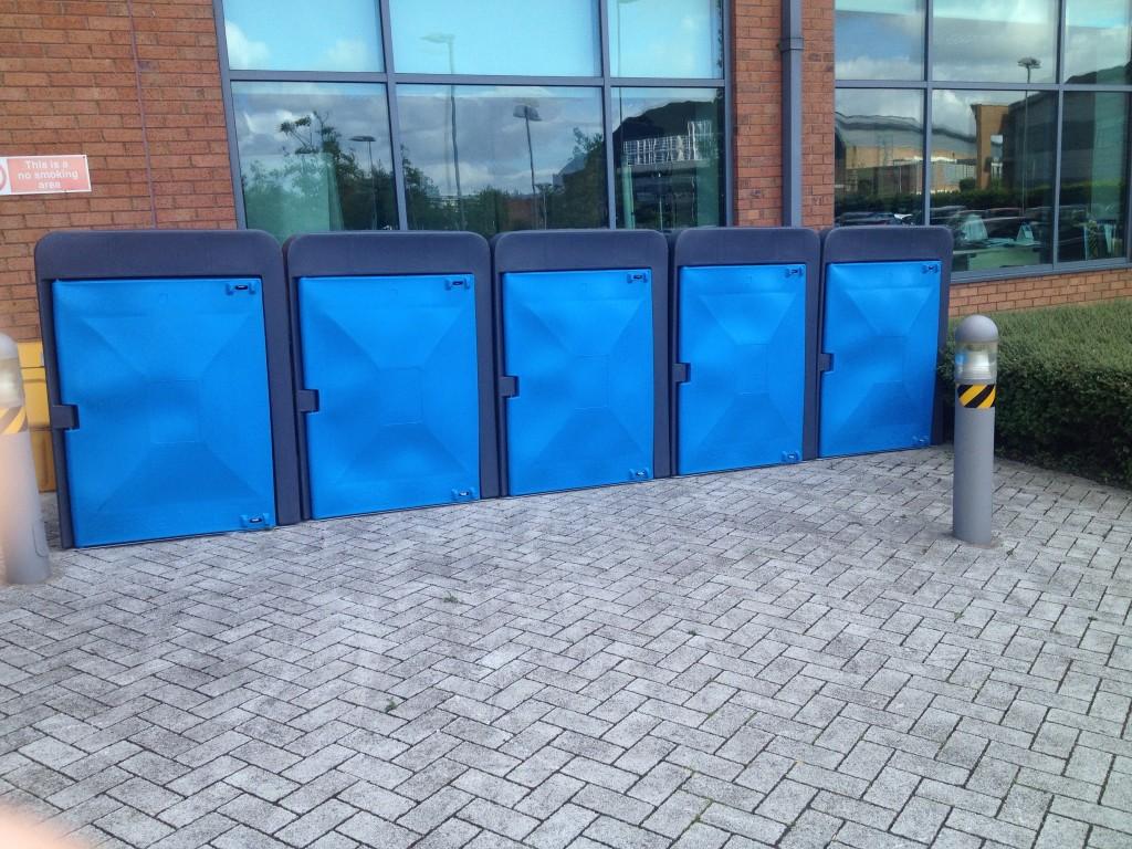 blue plastic Cycle lockers