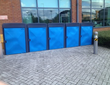 blue plastic Cycle lockers