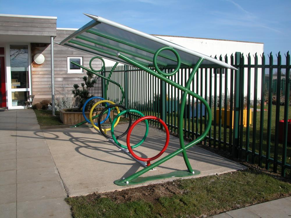 Javelin Shelter with ring cycle stands
