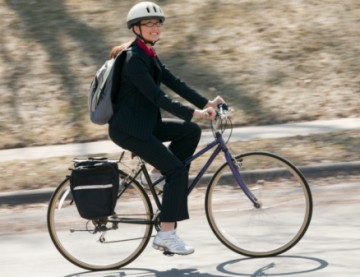 Woman biking to work